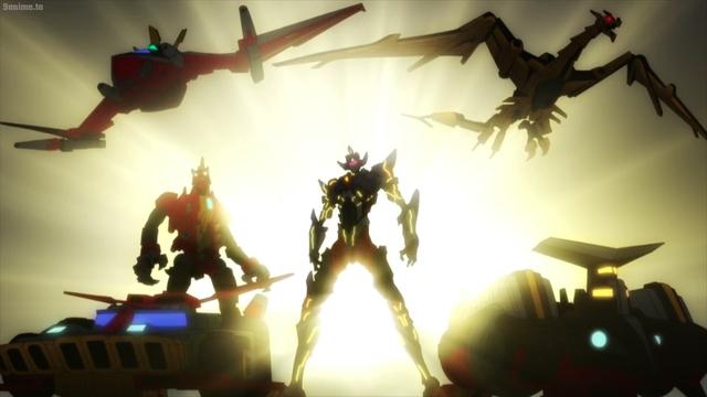 The Dynazenon Team, Goldburn, and Gridknight from the anime series SSSS.Dynazenon
