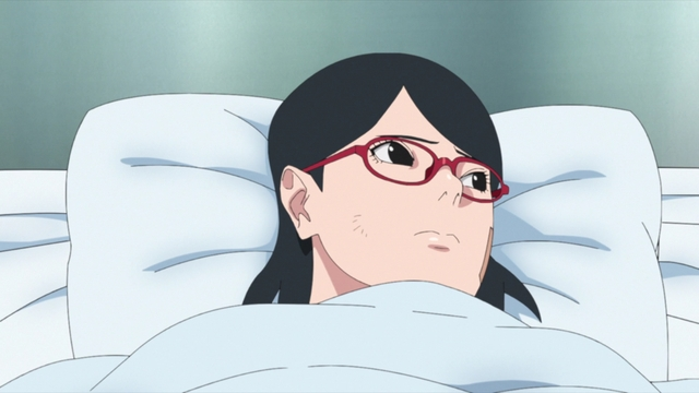 Sarada in a hospital bed from the anime series Boruto: Naruto Next Generations