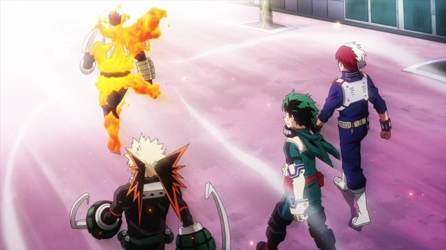 Bakugo, Deku, and Todoroki following Endeavor from the anime series My Hero Academia Season 5