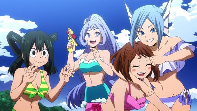 Tsuyu, Nejire, Ochako, and Sirius at the beach from the anime series My Hero Academia Season 5