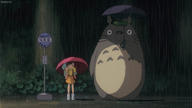 Satsuki and Totoro waiting for the bus from the anime movie My Neighbor Totoro