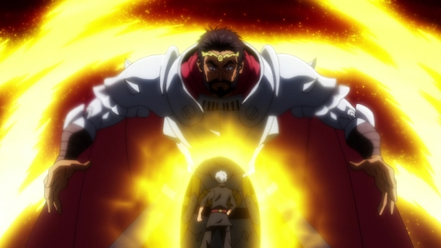 King Gazel intimidating Youm from the anime series That Time I Got Reincarnated as a Slime Season 2 Part 2
