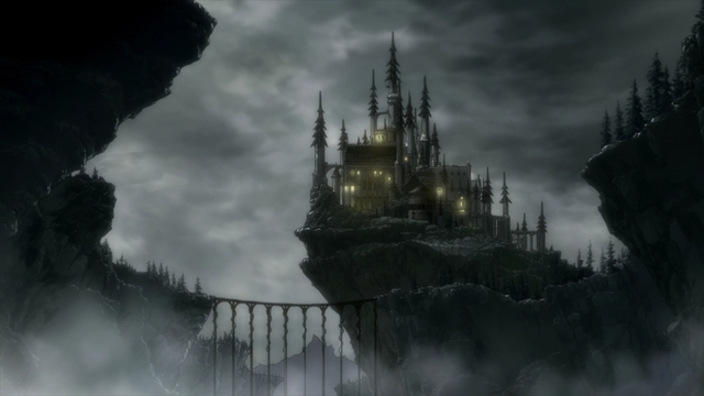 Clayman's comically evil-looking castle from the anime series That Time I Got Reincarnated as a Slime Season 2 Part 2