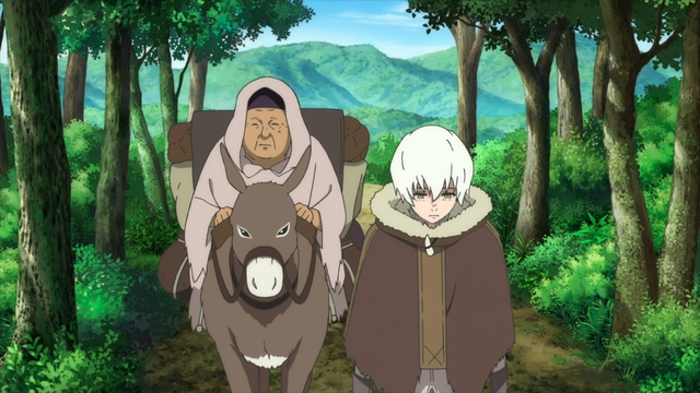 Fushi and Pioran leaving Takunaha from the anime series To Your Eternity