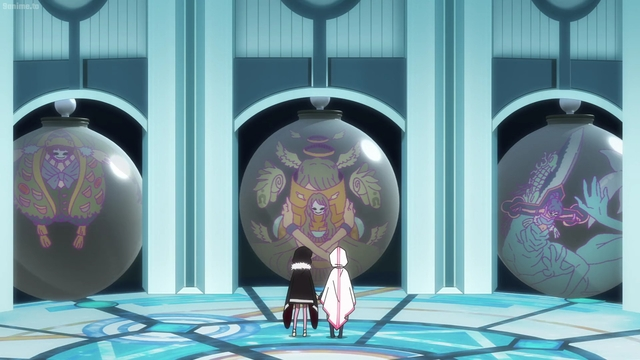 Iroha and Kuroe looking at contained Doppels from the anime series Magia Record: Puella Magi Madoka Magica Side Story 2nd Season