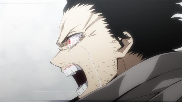 Aizawa attempting to break through to Shirakumo from the anime series My Hero Academia Season 5