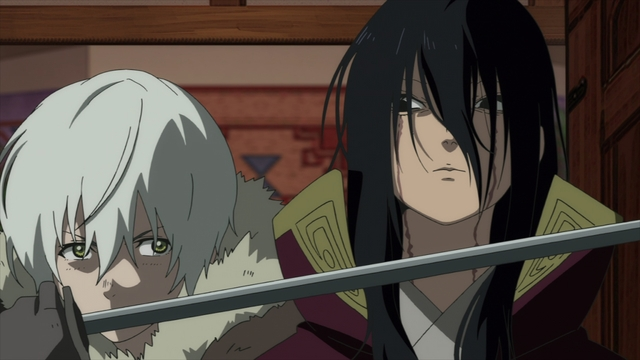 Fushi threatening to kill Hayase from the anime series To Your Eternity