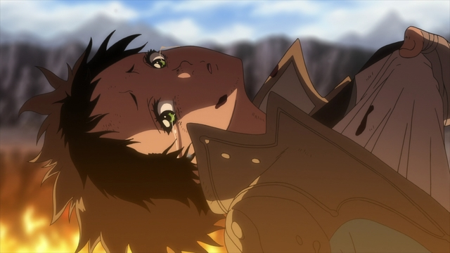 Tonari being held over a flaming pit from the anime series To Your Eternity