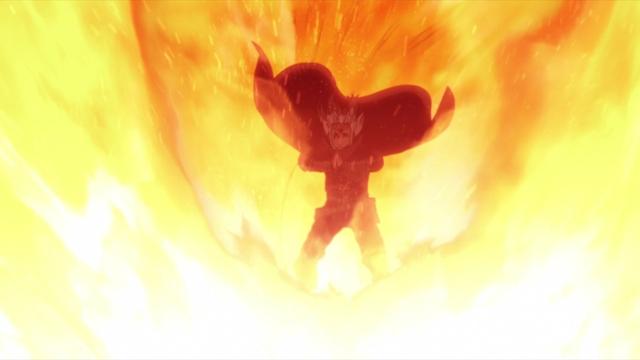 Koji Kashin using Sage Art: The Five Fire Gods' Fan of Flames from the anime series Boruto: Naruto Next Generations
