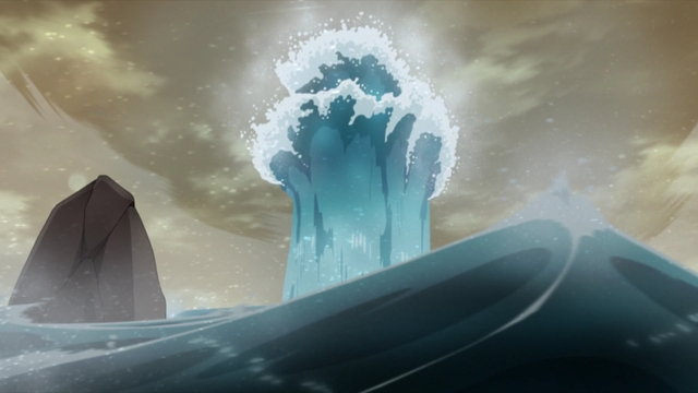 A splash of water caused by Naruto and Isshiki fighting from the anime series Boruto: Naruto Next Generations