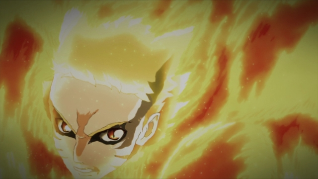 Baryon Mode Naruto bursting through flames from the anime series Boruto: Naruto Next Generations
