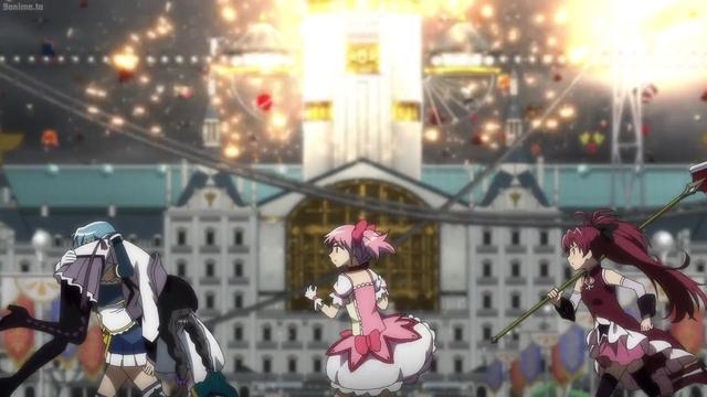 Sayaka, Homura, Madoka, and Kyouko running away from Mami's attack from the anime series Magia Record: Puella Magi Madoka Magica Side Story 2nd Season