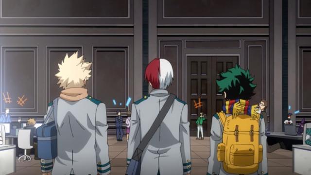 Bakugo, Todoroki, and Deku at Endeavor's hero agency from the anime series My Hero Academia Season 5