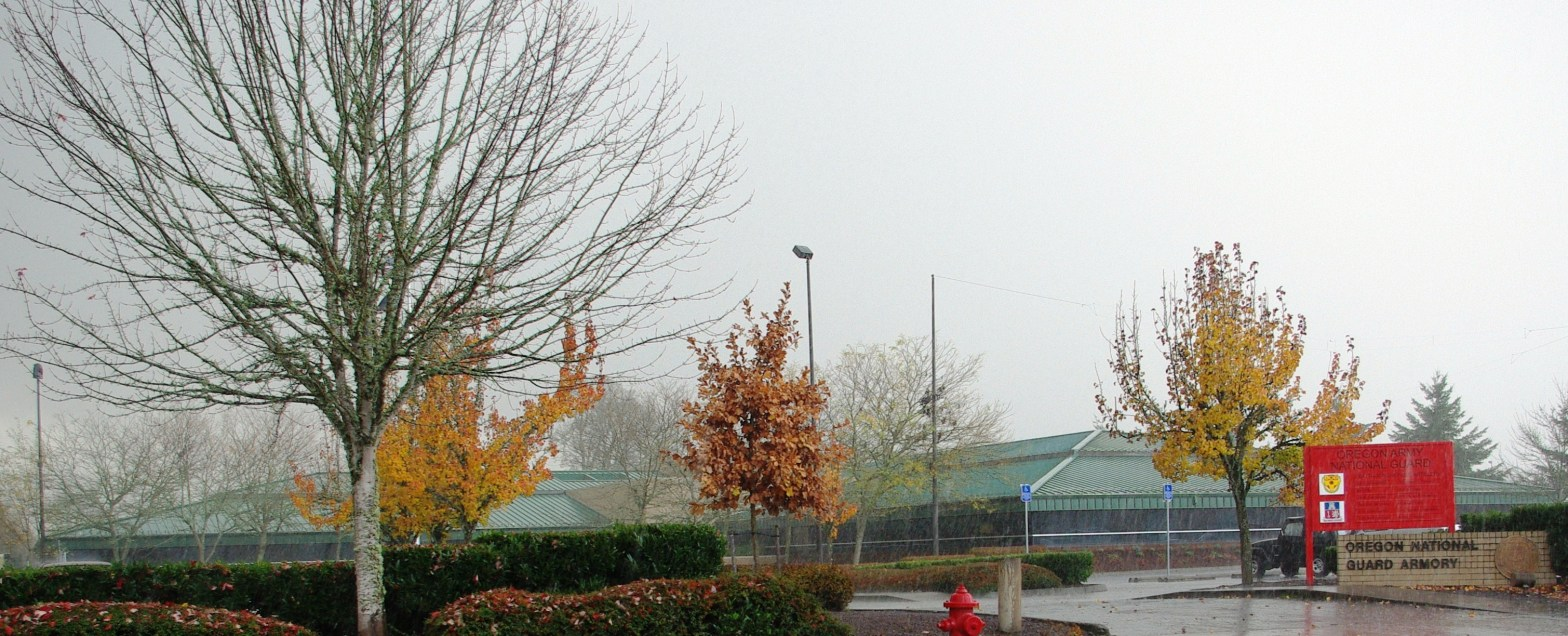 high definition photograph of a misty morning at the oregon national guard armory in forest grove, oregon. in the foreground there's a large tree without any leaves, and in the midground there are trees with yellow leaves and trees with red leaves. in the background is the oregon national guard armory, with a green roof and a red sign out front.