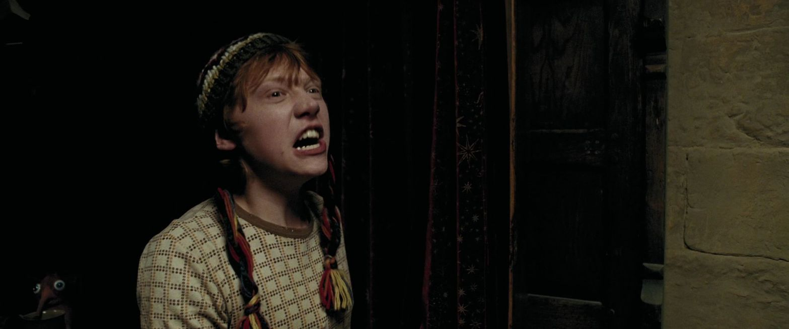 Still from the movie Harry Potter and the Prisoner of Azkaban in which Ron Weasley, played by Rupert Grint, is screaming at something off camera.