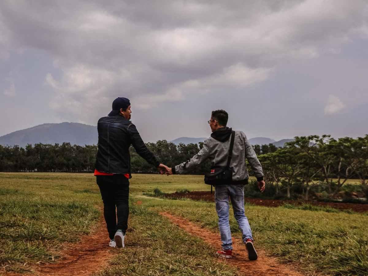 men holding hands walking on green grass field