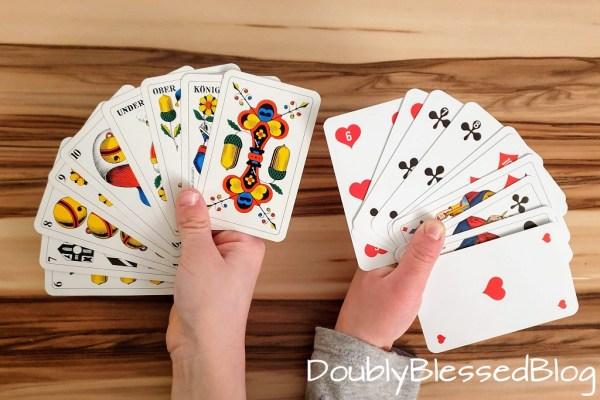 Schweizer deutsches und französisches Blatt - Lernspiele mit Karten für Kinder