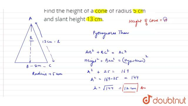 Find the height of a cone of radius 27 cm and slant height 27 cm.