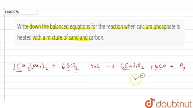 Write down the balanced equatons for the reaction when calcium