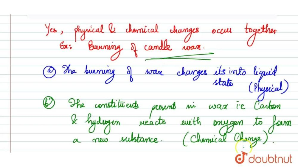 medium resolution of Can physical and chemical changes occur together ? Illustrate your