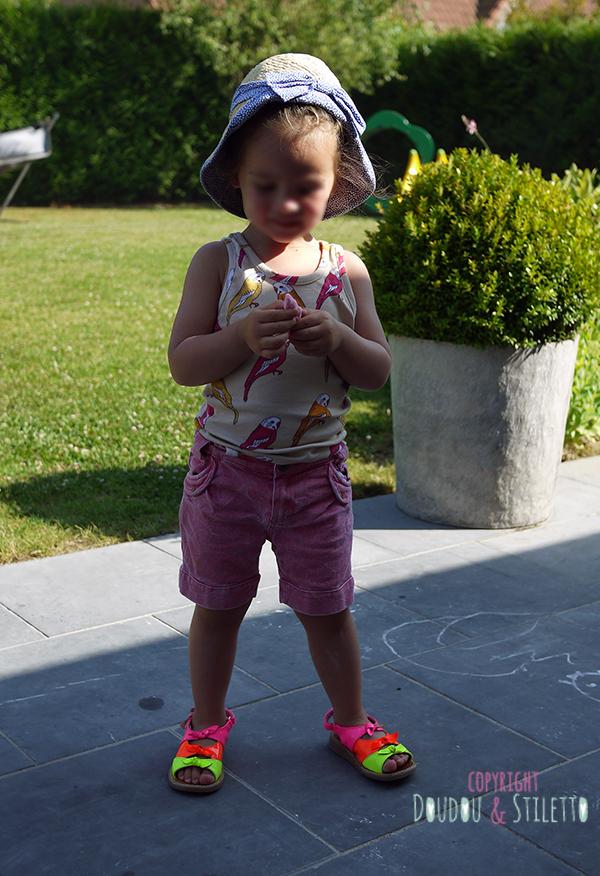 Débardeur Mini Rodini, Short Marèse, chaussures Pom d'Api, chapeau H&M