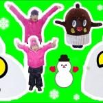 ★雪だるま対決!「どっちの雪だるまが可愛いかな~?」★Snowman-making★