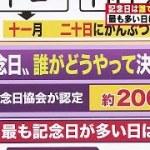 """多過ぎ?毎日が記念日 """"語呂合わせ""""がスゴイ!(18/11/22)"""