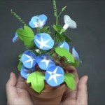 (ペーパーフラワー)可愛い! 折り紙で朝顔の花の作り方【DIY】(Paper Flower) Cute! Morning glory with origami