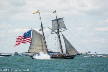 The Pride of Baltimore II, portrays the US Brig Caledonia