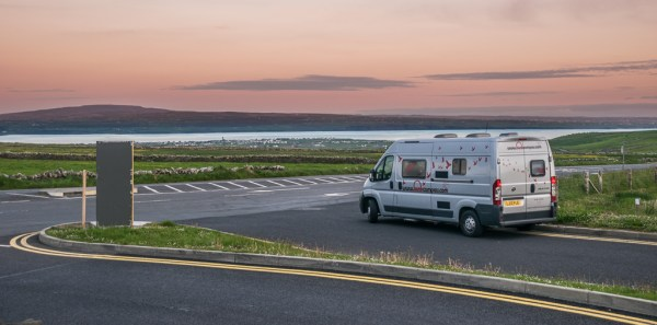 Bunk Camper parked outside the Clliffs of Moher parking lot