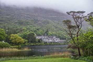 Kylemore Abbey in the fog