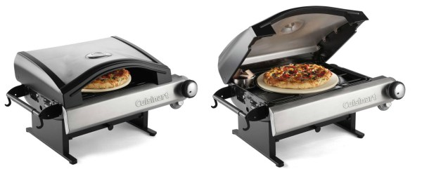 Cuisinart Alfrescamore Outdoor Pizza Oven - open and closed