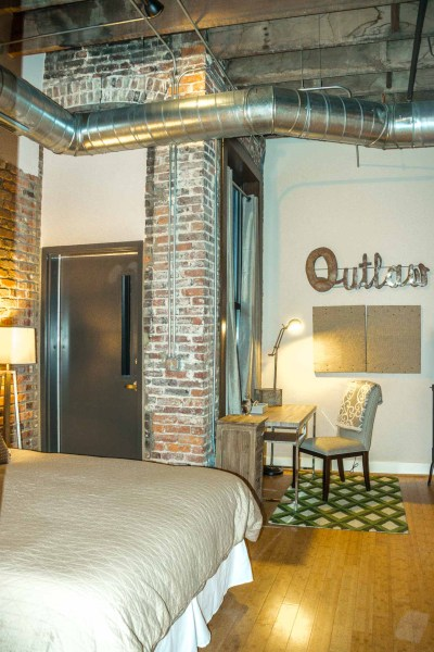 Music City Lofts bedroom and door to fire escape