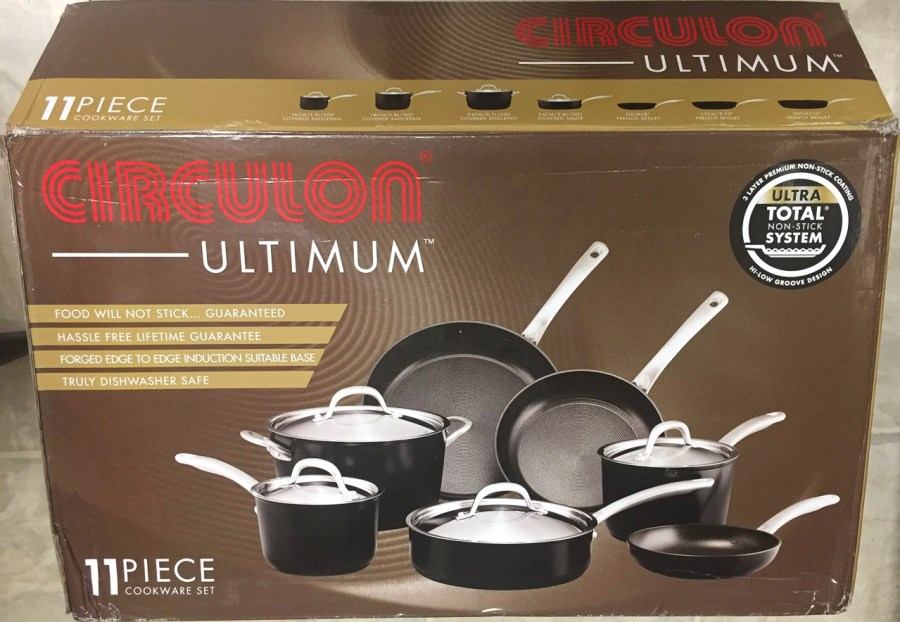 circulon-ultimum cookware set in a box