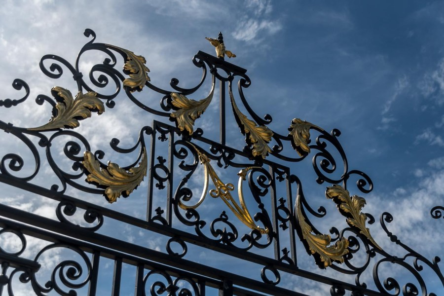 Iron gate to garden at Nemours Mansion and Estate