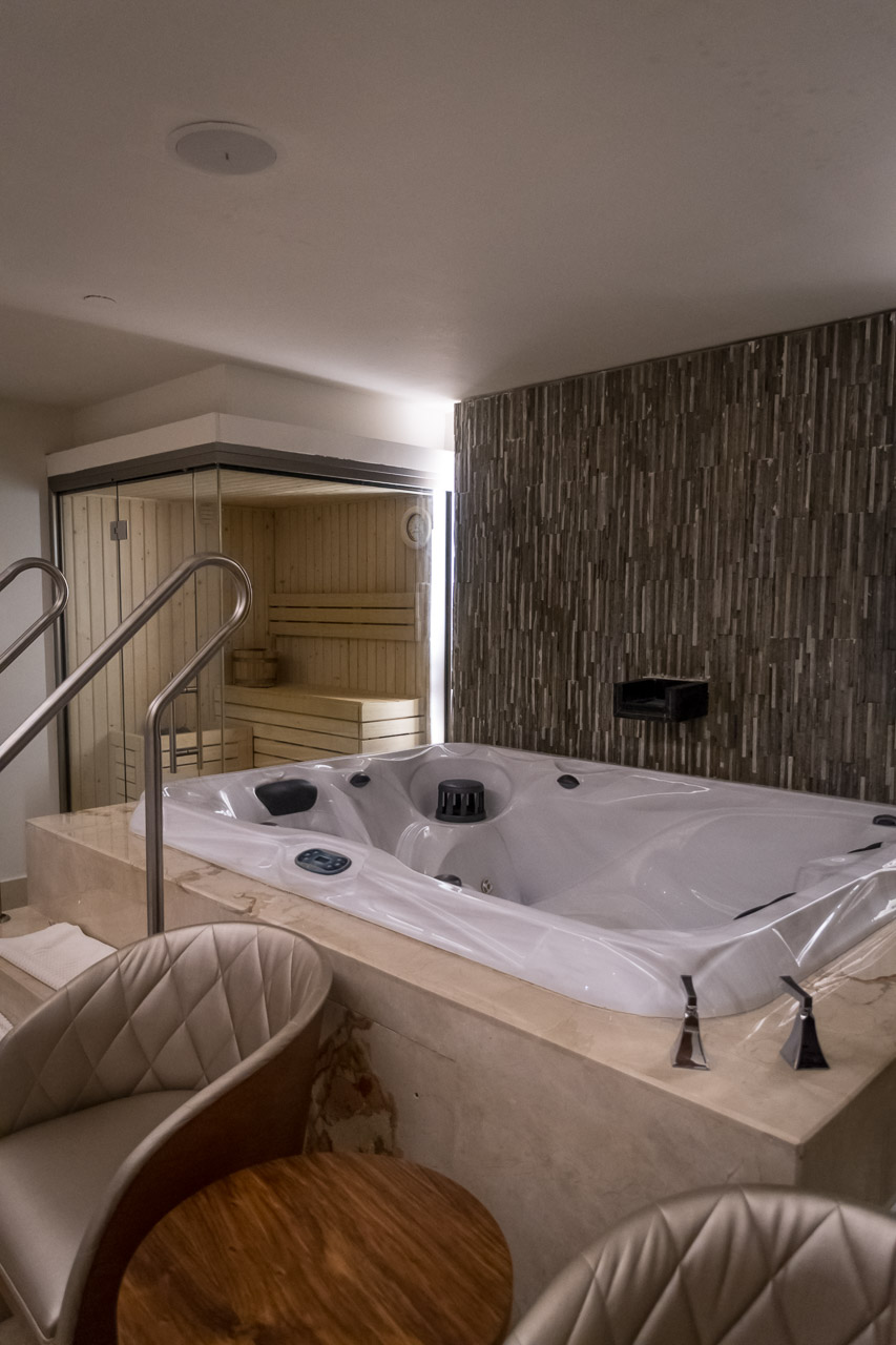 the vip couples spa package includes a sauna and jacuzzi
