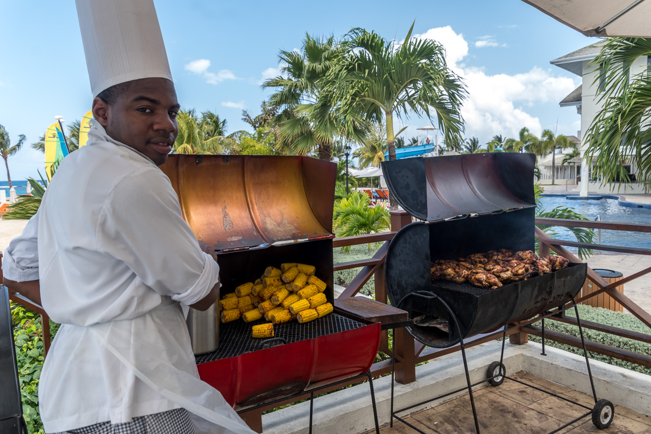 Moon Palace Jamaica Grande cook with Jerk Chicken on the grill