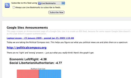 RSS feed created from Google Sites announcement page using Yahoo! Pipes