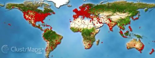Map of visitors to dougbelshaw.com/blog