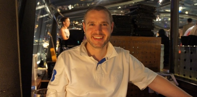 Doug Belshaw enjoying a meal on Bateaux Dubai, July 2011