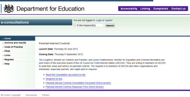 The Department for Education's consultation on 'Parental Internet Controls'