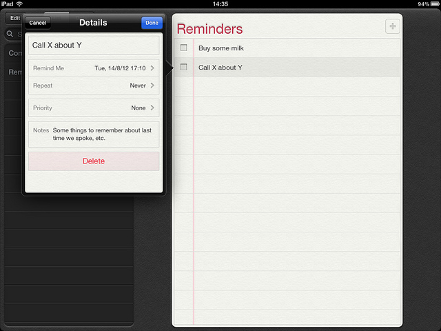 Reminders or To-do list items are for actions and therefore should be organised around VERBS