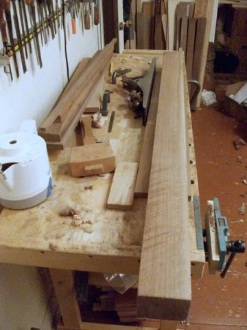 Quartered walnut that will become dulcimer fretboards and other parts