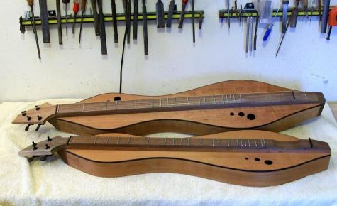 Baritone dulcimer and standard dulcimer by Doug Berch