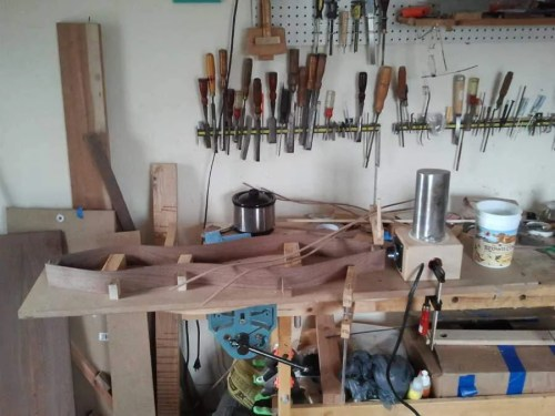 A dulcimer maker's workbench is always neat and tidy!