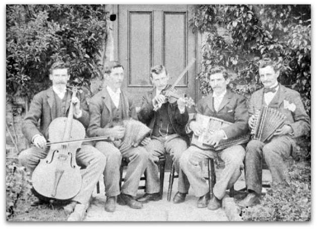 Old Time Band with two accordions, fiddle, autoharp and cello.