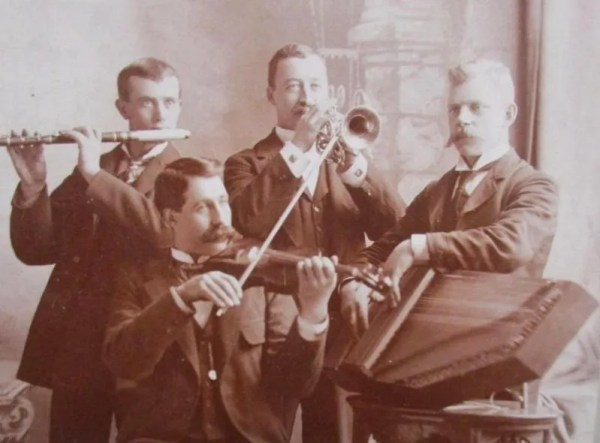 Autoharp, fiddle, flute and trumpet. An unusual band!