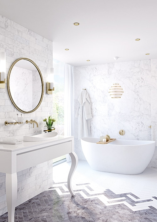 Gold and Carrara Bathroom
