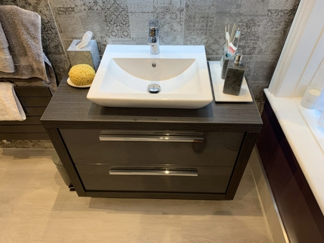 Large double draw basin unit with sit on quantum square basin in gloss drawer finish with a laminate wood carcass