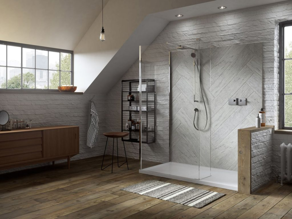 Matki walk in shower area with large white tray and wetroom panels